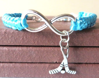 Love Hockey Athletic Charm Infinity Bracelet Hockey Sticks Charm You Choose Your Cord Color(s) Optional Hand Stamped Number Charm