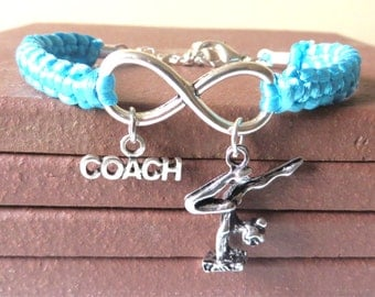Gymnastics Coach Athletic Charm Infinity Bracelet Coach Charm You Choose Your Cord Color(s)