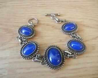 """Sterling Silver Blue Stone Toggle Bracelet VINTAGE 7 1/2"""""""