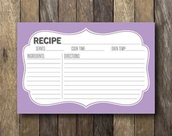 Printable Recipe Card - Purple Recipe Cards - Lilac Kitchen Decor - 4x6 Recipe Card - Purple Kitchen - Kitchen Printables - Bridal Shower