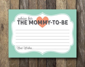 New Mom Advice Cards - Instant Download - Mint and Coral Baby Shower - Printable Advice for Mommy to Be - Printable Advice Cards - Mom to Be