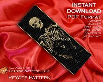 Peyote Pattern Bracelet Cuff Beading Miyuki Delica Size 11 Beads - PDF Download - Skeleton