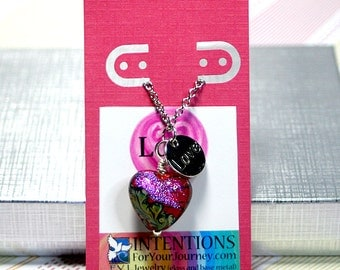"""LOVE - Handmade Inspirational Jewelry - Glass Lampwork Heart Pendant Necklace with 18"""" Silver Chain"""