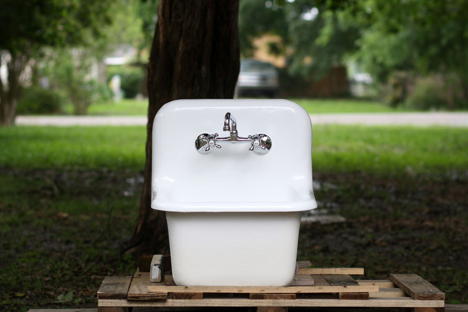 Deep Porcelain Sink : Small White Dead Stock Cast Iron Porcelain Wall Mount by readytore