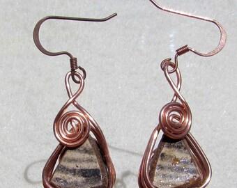 Wire-Wrapped Anasazi Pottery Shard Earrings  #W74
