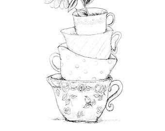 Alice in Wonderlalnd PRINTABLE Art Print, Wall Art, Room Decor, Nursery Print, Mother's Day Print, Instant Download, Teacups Print