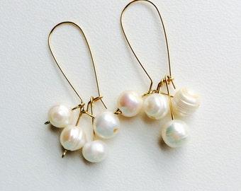 Freshwater Pearl Cluster Earrings, Gemstone Statement Earrings, Drop Earrings, Hypoallergenic, Women's Jewelry, Trending Items, Gift Ideas