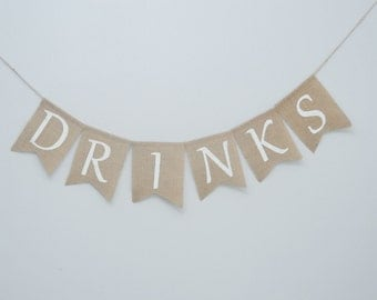 Drinks burlap banner - wedding bridal shower birthday party drinks beverage banner garland flags