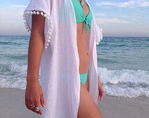 Beach cover up, coverup with Pom poms, swimsuite coverup, gauze cotton coverup, resort wear, must have for any beach vacation