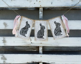 Easter Bunny Burlap Banner, Bunny Bunting, Spring Burlap Banner, Easter Banner, Spring Decor, Easter Decor, Easter and Spring Photo Prop