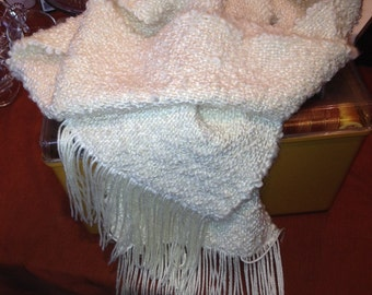 Flurries! - a soft and fluffy white scarf perfect for winter - handwoven in America with American made materials