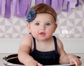 Blue Jean Baby Headband - Navy Elastic Headband - Skinny Elastic Headband - Photo Prop - Baby Girl Headband - Denim Bows - Infant Headband