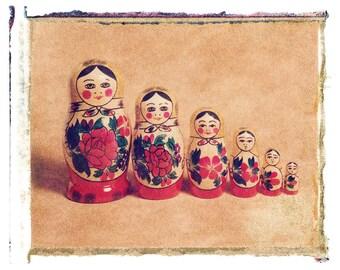 Fine Art photograph of Polaroid Transfer of Russian Dolls