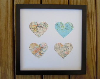 4 Framed Heart Maps - Choose Your Maps - Map Art - Customized Gift for Traveler - Wedding or Anniversary Gift - Heart Shaped Maps