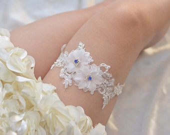 lace bridal garter, wedding garter,beaded garter, rhinestone  beaded floral garter,light pink rosette garter,something blue garter