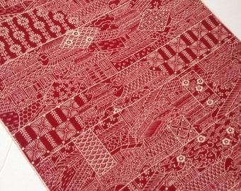 Red Silk Fabric, Kimono fabric, Japanese fabric, silk kimono fabric, Japanese fabric, red, made in Japan, supplies, Free shipping