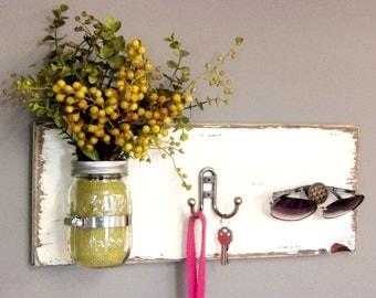 Wooden Key Holder, Wall Organizer, Home Decor, Wooden Key Hook, Decorative Hanger, Mason Jar Decor, Distressed Wood