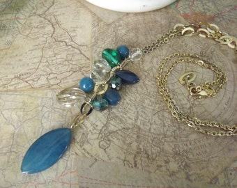 J 26  28 Inch Gold Bonnie J Necklace With Blue And Crystal Beads,Long Necklace , Tassle Necklace, Blue Necklace,