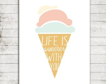 Life is Sweeter with you- Modern Pastel Icecream Cone- Nursery/Children's Printable Art Digital File for 8x10 Print #251