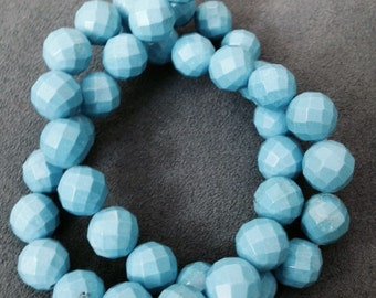 """Turquoise blue HOWLITE  faceted bead round 10mm 39 beads 15.5"""" strand"""