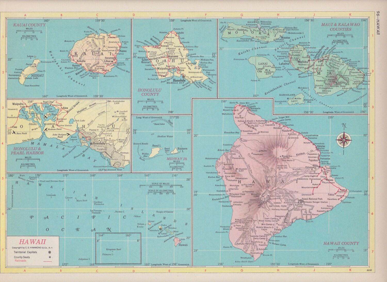 Off Estate Sale Vintage Map Art State Of Alaska  Panama - Map of usa for sale