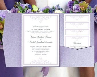 "DIY Pocketfold Wedding Invitations ""Vintage"" Lilac Printable Templates Instant Download Order Any 1 or 2 Colors YOU Print"