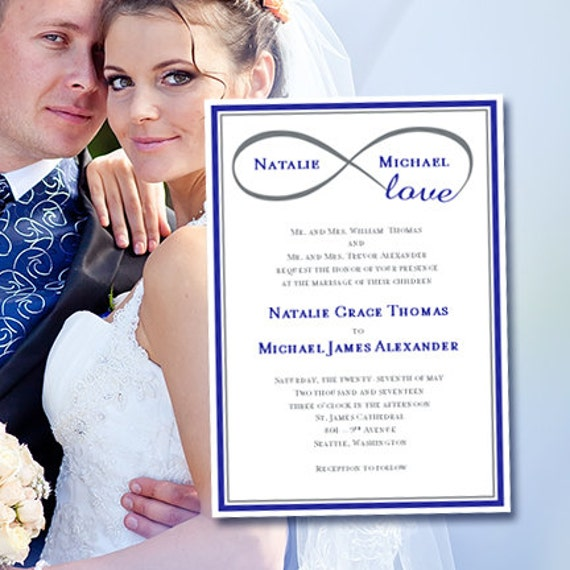 Wedding Invitation Infinity Love Royal Blue Gray Printable Template Edit Microsoft Word Instant Download ALL COLORS DIY You Print