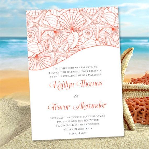 seashell wedding invitations coral & gray, Wedding invitations