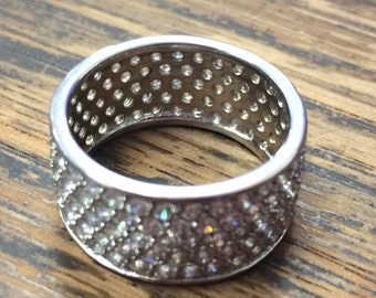 Beautiful Sterling Silver Crystal Stone Ring Sz. 8