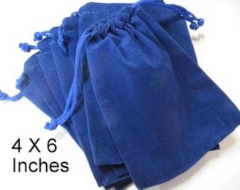 Pouches, Velour Bags, 4x6, Blue, 6 Piece, Pendant Bags, Supply Bag, Medicine Bags, Treasure, Trinket, Chakra, Stone Bag