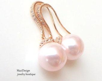 Set of 6 Pink Swarovski, Pink Pearls Rose Gold Earrings, Bridal Earrings, Bridesmaids Earrings, Pink Wedding,Hypoarllegen