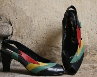 SALE 60% Sloane french navy blue red green yellow leather peeptoe sandals heels pumps multicolor leaves pattern details & slingback 36