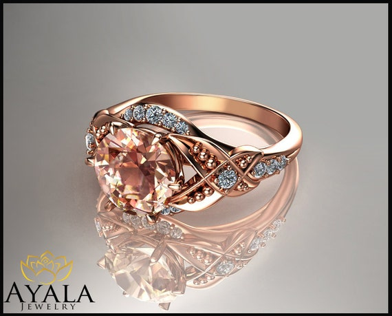 14k gold morganite ring unique engagement by