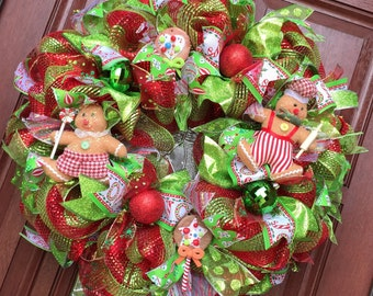 Christmas Wreath / Gingerbread wreath/ Deco Mesh christmas wreath  / CLEARANCE