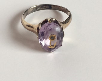 Antique10K amethyst inset flower with diamond Rose of sharon