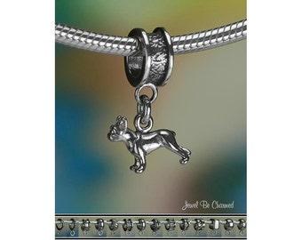 Tiny French Bulldog Boston Terrier Charm or Bracelet Sterling Silver