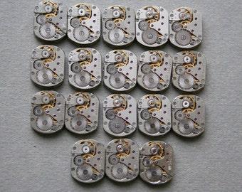 """5/8 x 1/2"""".Set of  18 Vintage Soviet Watch movements , steampunk parts , cuff links supplies"""