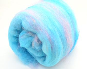 "Fiber Art Batt, fiber spinning batt, felting batt, hand dyed,  blue, pink,  drum carded batt, wool, Cotswold, nylon  ""Bubblegum"" 3.5 oz"