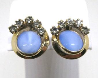 Blue Moonstone Earrings - 12K Gold Filled, Blue Moon Stones, Clear Rhinestones, Screw Back Earrings