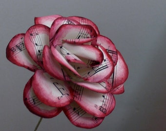Burgundy music rose, sheet music rose painted,  vintage sheet music paper rose, upcycled paper decoration, paper flower,  Valentine's day