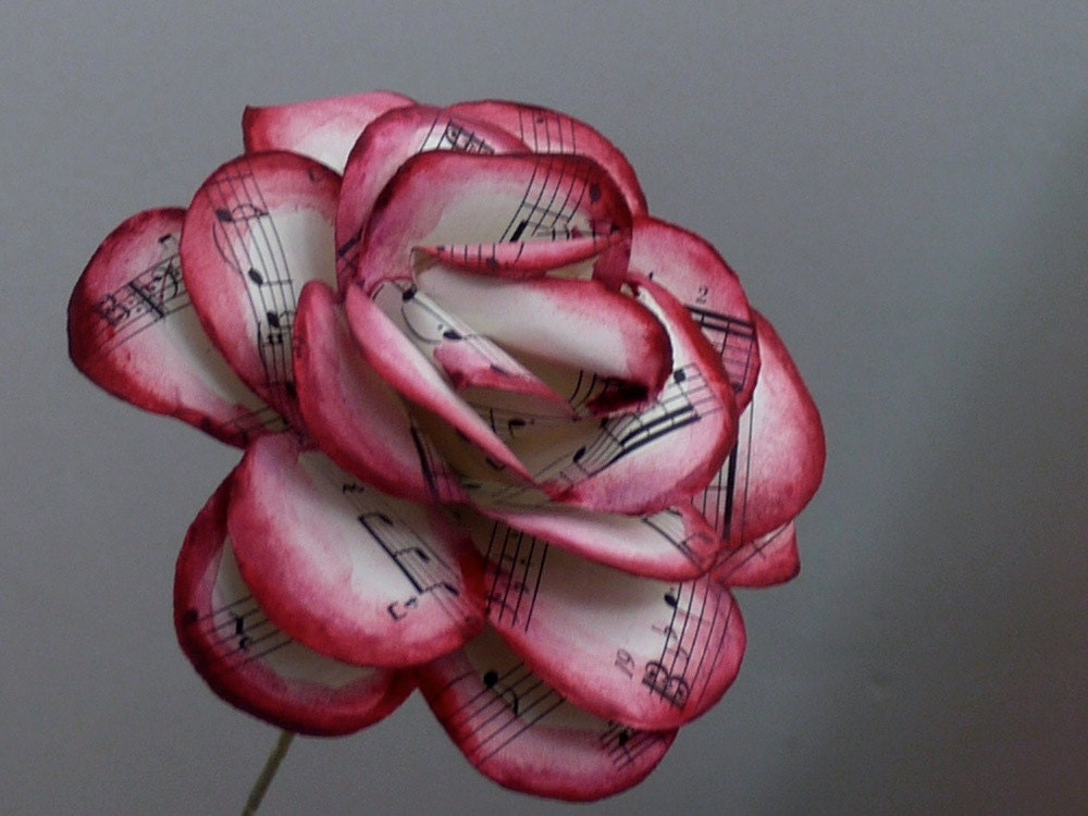 burgundy music rose sheet music rose painted vintage sheet. Black Bedroom Furniture Sets. Home Design Ideas