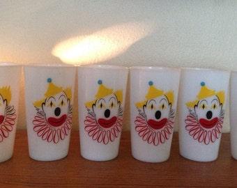 Hazel Atlas Clown Milk Glasses Set of 6