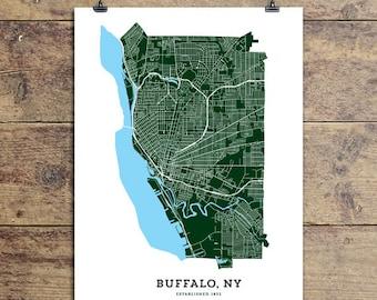 Map of Buffalo, NY Art Print