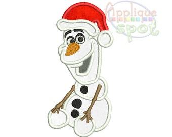 Olaf Christmas Hat Frozen Snowman - 4x4 5x7 6x10 Applique Design Embroidery Machine -Instant Download File
