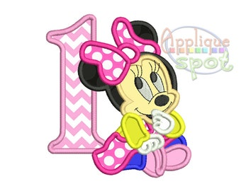 Minnie First 1st Birthday 1 - 4x4 5x7 6x10 Applique Design Embroidery Machine -Instant Download File
