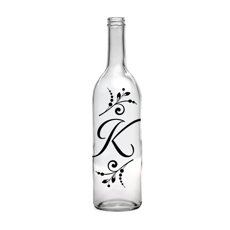 Personalized Wine Bottles For Wedding Gift : Initial Wine Bottle Custom Wedding Decor Monogram Gift by LEVinyl