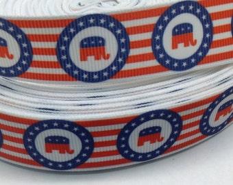 "3 Yards of Political Republican 7/8"" Grosgrain Ribbon"