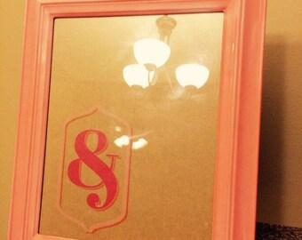 Peach frame  & dry erase board