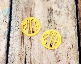 Zeta Tau Alpha Monogram Style Stud Earrings | Zeta Tau Alpha Earrings | ZTA Earrings | Sorority Earrings | Monogram Earrings | Zeta Earrings