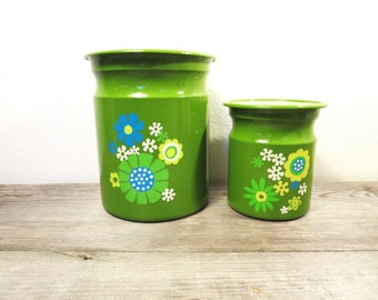 Vintage Canisters / Retro Canisters / Flower Tin Canister / Green Vintage Canister / Boho Storage
